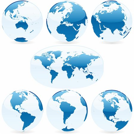 vector editable colored world map and globes Stock Photo - Budget Royalty-Free & Subscription, Code: 400-04145601