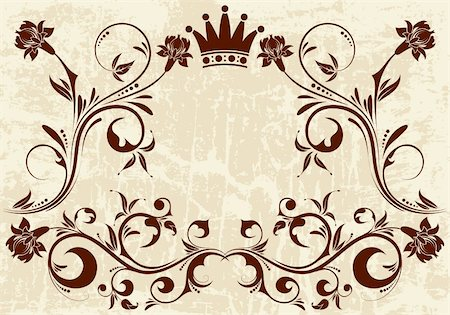 filigree tree - Grunge Floral frame with Crown, vector illustration Stock Photo - Budget Royalty-Free & Subscription, Code: 400-04145710
