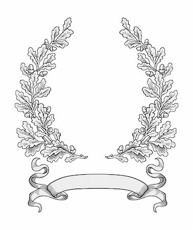 Oak wreath vector Stock Photo - Budget Royalty-Free & Subscription, Code: 400-04145857