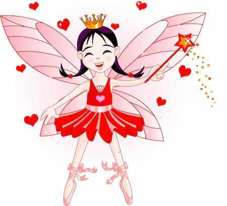 flying heart girl - Cute fairy ballerina flying. All objects are separate groups Stock Photo - Budget Royalty-Free & Subscription, Code: 400-04147751