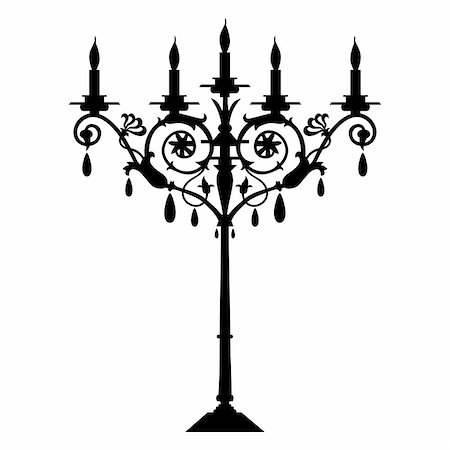 elakwasniewski (artist) - Candlestick silhouette at white background, full scalable vector graphic included Eps v8 and 300 dpi JPG. Stock Photo - Budget Royalty-Free & Subscription, Code: 400-04148162