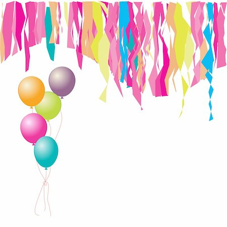 Happy birthday! Balloons and confetti. Insert your text here. Stock Photo - Budget Royalty-Free & Subscription, Code: 400-04149533