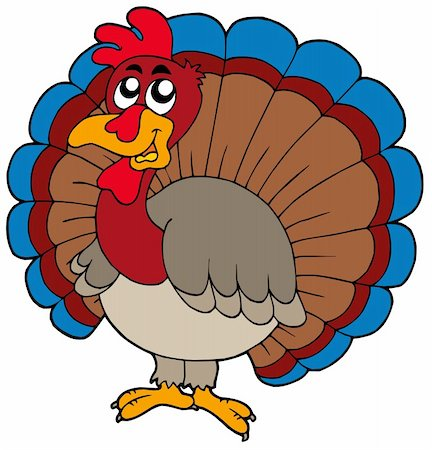 Cartoon turkey on white background - vector illustration. Stock Photo - Budget Royalty-Free & Subscription, Code: 400-04142094