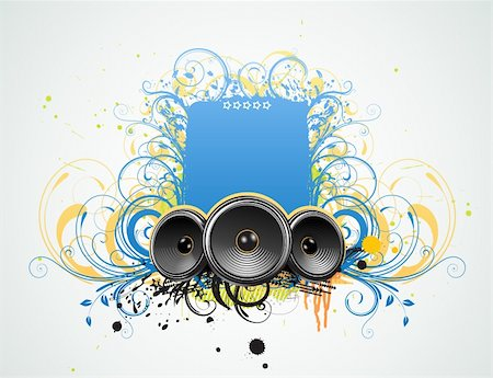Vector illustration of funky Grunge Decorative music frame Stock Photo - Budget Royalty-Free & Subscription, Code: 400-04142170