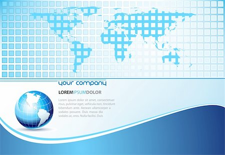 Clean futuristic vector design template with earth globe and map  - easy to edit vector EPS file Stock Photo - Budget Royalty-Free & Subscription, Code: 400-04142249