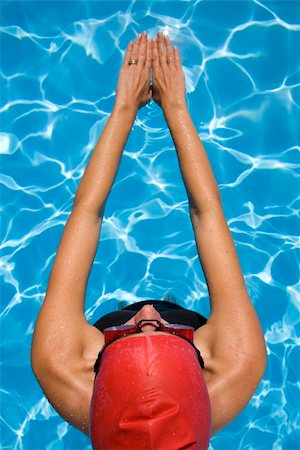 spanishalex (artist) - Athletic woman in swimming gear with blue swimming pool Stock Photo - Budget Royalty-Free & Subscription, Code: 400-04143053