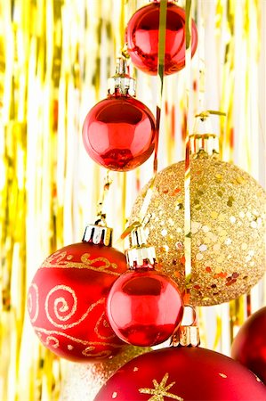 spanishalex (artist) - Christmas baubles hanging over a white and background Stock Photo - Budget Royalty-Free & Subscription, Code: 400-04154201
