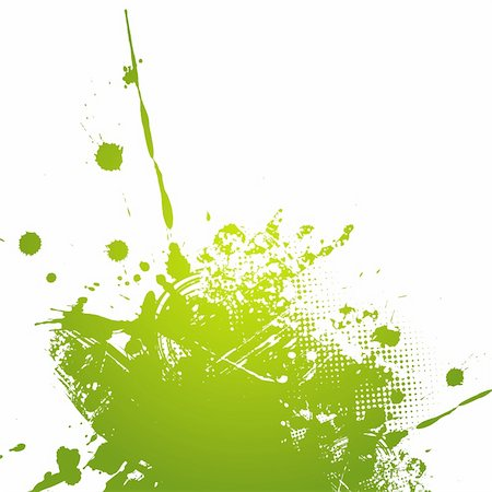 dripping splat - Green abstract illustration. Vector Stock Photo - Budget Royalty-Free & Subscription, Code: 400-04154273