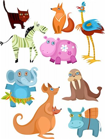 vector illustration of a animal set Stock Photo - Budget Royalty-Free & Subscription, Code: 400-04155546