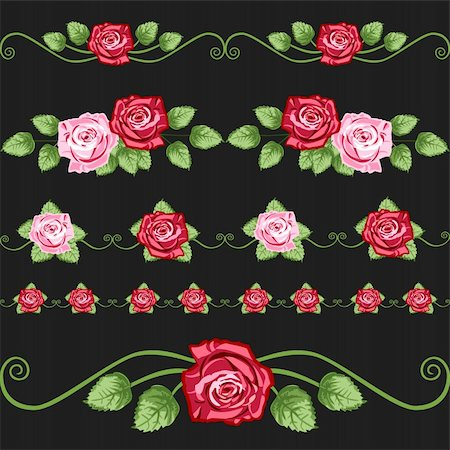 simsearch:400-04872199,k - Vector retro roses elements for greetings cards, design or backgrounds. All elements are on separate layers for easy editing and color change. Stock Photo - Budget Royalty-Free & Subscription, Code: 400-04155541
