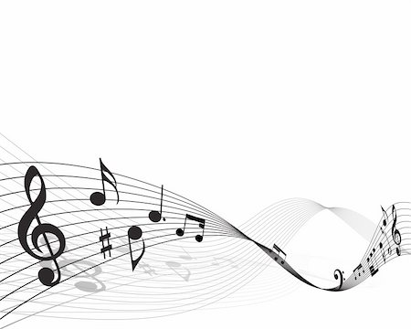 Vector musical notes staff background for design use Stock Photo - Budget Royalty-Free & Subscription, Code: 400-04156181