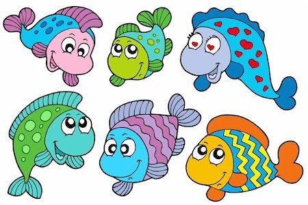 Crazy fishes collection - vector illustration. Stock Photo - Budget Royalty-Free & Subscription, Code: 400-04157385