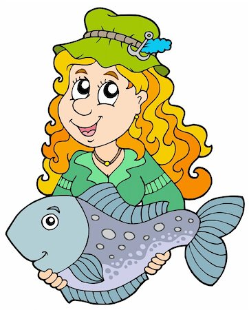 Fisherwoman holding big fish - vector illustration. Stock Photo - Budget Royalty-Free & Subscription, Code: 400-04157794