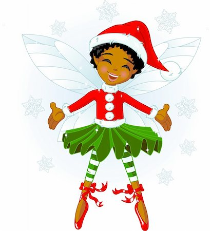 Cute Christmas fairy flying in the snowing sky Stock Photo - Budget Royalty-Free & Subscription, Code: 400-04157942