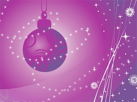 sparks with white background - purple wave background with hanging xmas ball Stock Photo - Budget Royalty-Free & Subscription, Code: 400-04158915