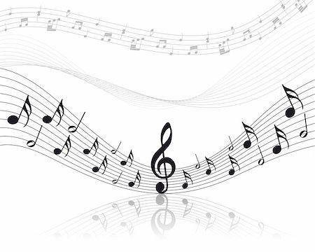 Vector musical notes staff background for design use Stock Photo - Budget Royalty-Free & Subscription, Code: 400-04159171