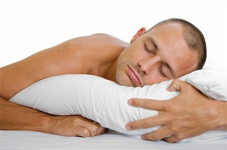 spanishalex (artist) - Man in bed sleeping peacefully with a pillow Stock Photo - Budget Royalty-Free & Subscription, Code: 400-04159861
