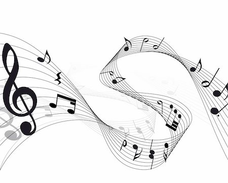 Vector musical notes staff background for design use Stock Photo - Budget Royalty-Free & Subscription, Code: 400-04159907