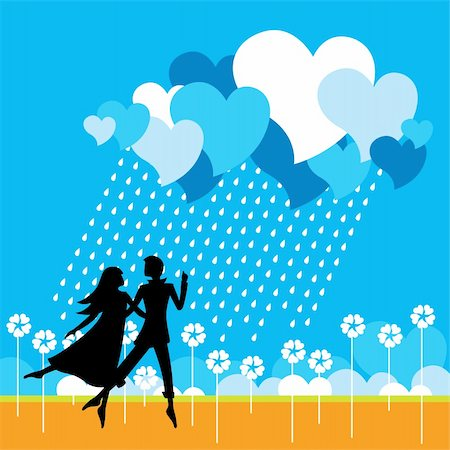 flying heart girl - Vector illustration from my Love Collection. Lovers dancing in the field. Stock Photo - Budget Royalty-Free & Subscription, Code: 400-04150078