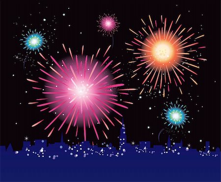 fireworks vector art - New Year in the city celebrated with fireworks. Vector illustration. Stock Photo - Budget Royalty-Free & Subscription, Code: 400-04150361