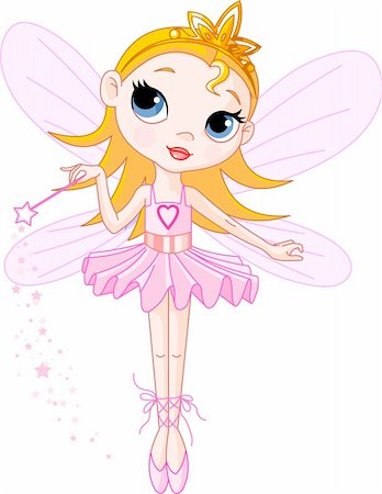 flying heart girl - Little Cute fairy ballerina with magic wand Stock Photo - Budget Royalty-Free & Subscription, Code: 400-04150574