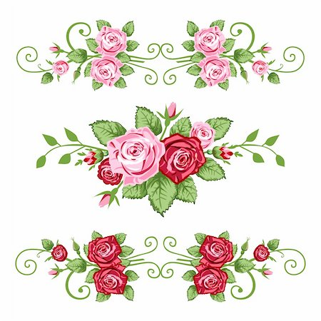 Vector retro roses border for greetings cards, design or backgrounds. All elements are on separate layers for easy editing and color change. Stock Photo - Budget Royalty-Free & Subscription, Code: 400-04151545