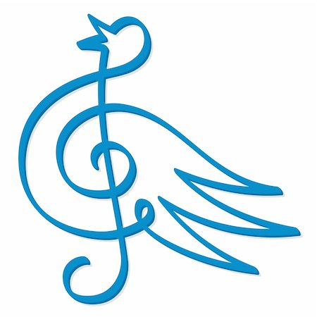 Line art of treble clef symbol form a blue bird Stock Photo - Budget Royalty-Free & Subscription, Code: 400-04151736