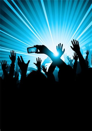 A group of people at a concert with a member of the audience taking a picture. Stock Photo - Budget Royalty-Free & Subscription, Code: 400-04152994