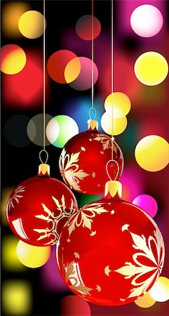 Vector illustration of  christmas balls on Decorative background with disco lights dots pattern Stock Photo - Budget Royalty-Free & Subscription, Code: 400-04153449