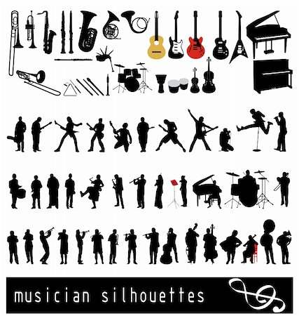silhouette musical symbols - large collection of instruments and musicians with high detail Stock Photo - Budget Royalty-Free & Subscription, Code: 400-04153451