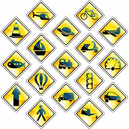 Collection of high-gloss traffic and transportation icons. Graphics are grouped and in several layers for easy editing. The file can be scaled to any size. Stock Photo - Budget Royalty-Free & Subscription, Code: 400-04153489