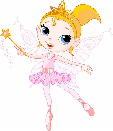 flying heart girl - Little Cute fairy ballerina with magic wand Stock Photo - Budget Royalty-Free & Subscription, Code: 400-04153480
