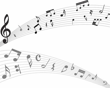 Vector musical notes staff background for design use Stock Photo - Budget Royalty-Free & Subscription, Code: 400-04153756