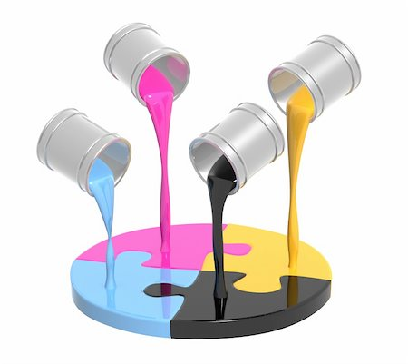 pouring paint art - Conceptual image - a palette CMYK. Objects over white Stock Photo - Budget Royalty-Free & Subscription, Code: 400-04153883
