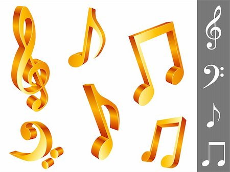 Set of 6 golden music notes, isolated on white background. Stock Photo - Budget Royalty-Free & Subscription, Code: 400-04164262