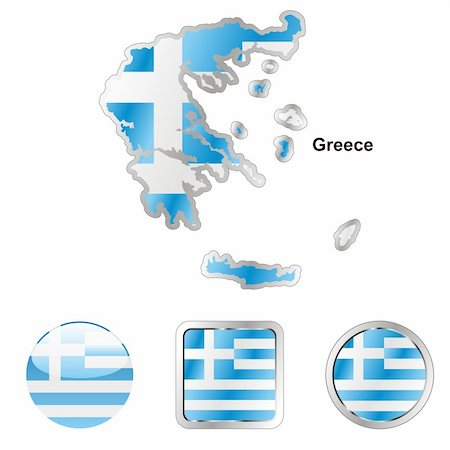 pilgrimartworks - fully editable vector flag of greece in map and web buttons shapes Stock Photo - Budget Royalty-Free & Subscription, Code: 400-04164973
