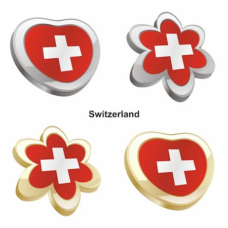pilgrimartworks - fully editable vector illustration of switzerland flag in heart and flower shape Stock Photo - Budget Royalty-Free & Subscription, Code: 400-04165424