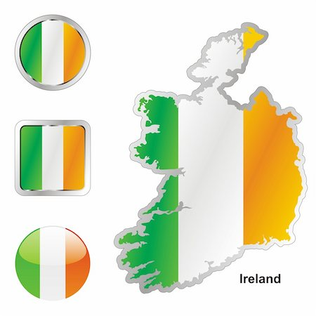 pilgrimartworks - fully editable vector flag of ireland in map and web buttons shapes Stock Photo - Budget Royalty-Free & Subscription, Code: 400-04165466