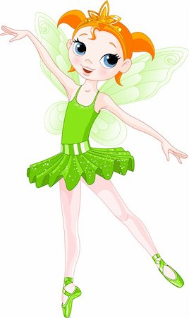 Green Cute fairy ballerina. Wings and glitter are separate groups. Stock Photo - Budget Royalty-Free & Subscription, Code: 400-04166506