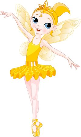 Yellow Cute fairy ballerina. Wings and glitter are separate groups. Stock Photo - Budget Royalty-Free & Subscription, Code: 400-04166509