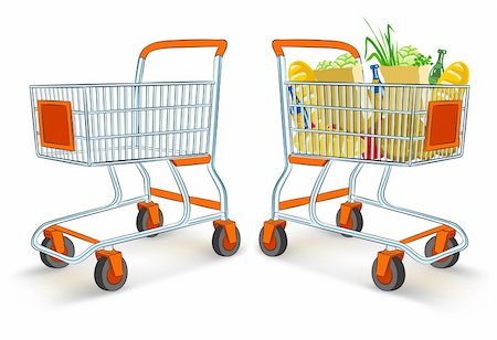 empty shopping cart - full and empty shopping carts from supermarket store - vector illustration, isolated on white background Stock Photo - Budget Royalty-Free & Subscription, Code: 400-04167329