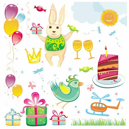 Birthday and celebration natural set Stock Photo - Budget Royalty-Free & Subscription, Code: 400-04160250