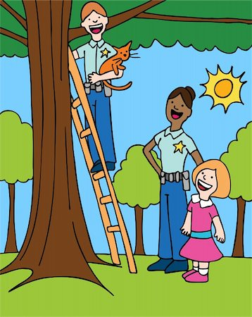 female police officer happy - Officer rescues a cat from a tree for a little girl. Stock Photo - Budget Royalty-Free & Subscription, Code: 400-04160487