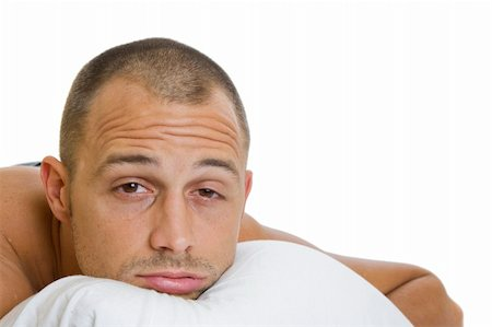 spanishalex (artist) - Man in bed trying to sleep with a pillow Stock Photo - Budget Royalty-Free & Subscription, Code: 400-04160621