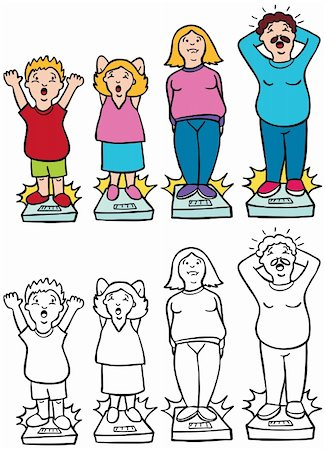 Parents and children worried about gaining too much weight - both color and black / white versions. Stock Photo - Budget Royalty-Free & Subscription, Code: 400-04160679