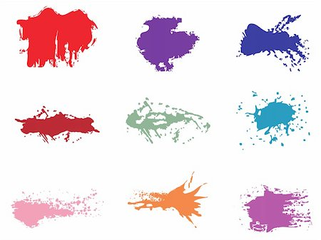 paint dripping abstract pattern - set of grunge vector Stock Photo - Budget Royalty-Free & Subscription, Code: 400-04160796