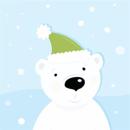 Cute polar bear character with snowy background. Vector cartoon illustration. Stock Photo - Budget Royalty-Free & Subscription, Code: 400-04161075