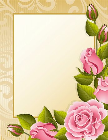 Vector illustration - pink roses and paper Stock Photo - Budget Royalty-Free & Subscription, Code: 400-04161206