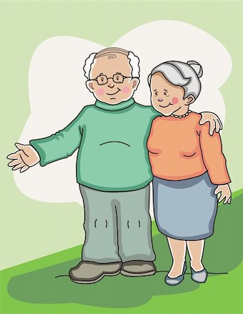 Senior couple standing together side by side. Made in layers. Editable. Stock Photo - Budget Royalty-Free & Subscription, Code: 400-04161210