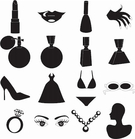 12 Vector Silhouette Icons for Beauty or Fashion. Also available as buttons and in color. Stock Photo - Budget Royalty-Free & Subscription, Code: 400-04161284